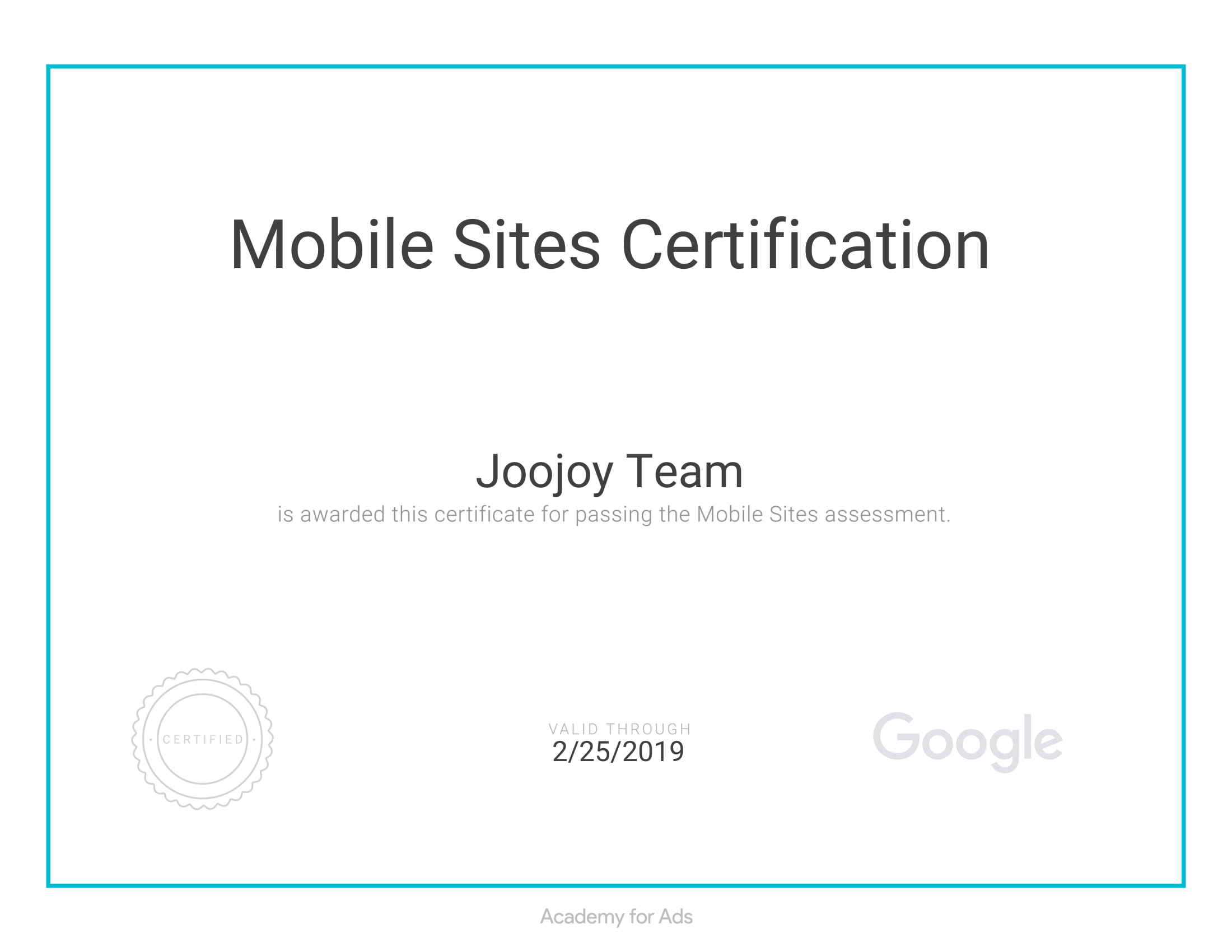 mobile sites certificate